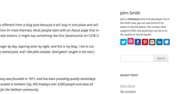 Profile Card WordPress Widget