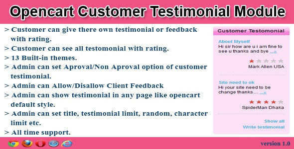 opencart customer testimonial module - CodeCanyon Item for Sale