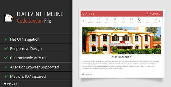 jQuery Flat Event Calendar Responsive Timeline