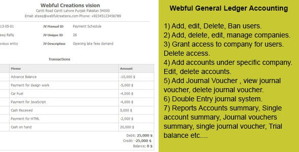 PHP General Ledger Accounting