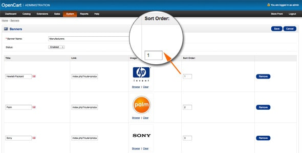 Banners Sort Order Module for Opencart - CodeCanyon Item for Sale