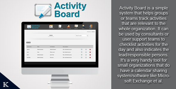 Activity Board Activity Manager - CodeCanyon Item for Sale