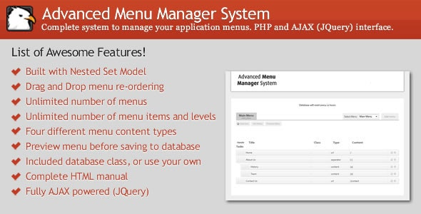 Advanced Menu Manager System - CodeCanyon Item for Sale