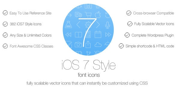 iOS7 Style Font Icons - Wordpress Plugin - CodeCanyon Item for Sale