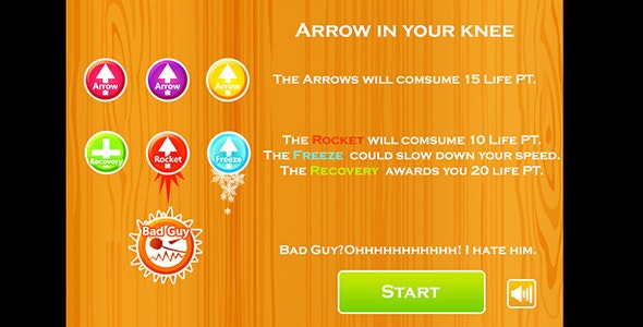 Arrow in Knee-Turret dodge game - CodeCanyon Item for Sale