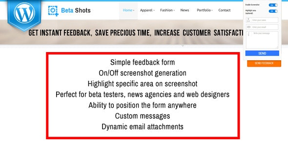 BetaShot - Feedback Form with Screenshot for Wordpress - CodeCanyon Item for Sale