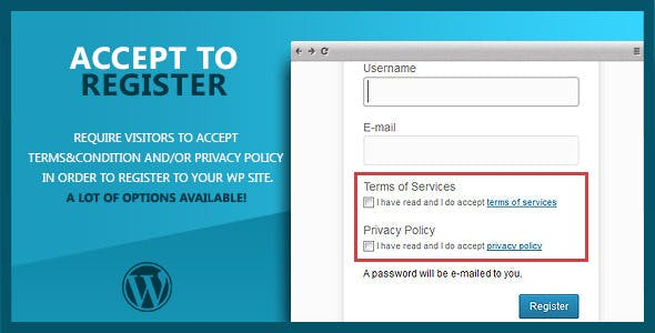 WP Accept to Register Terms of Service & P. Policy