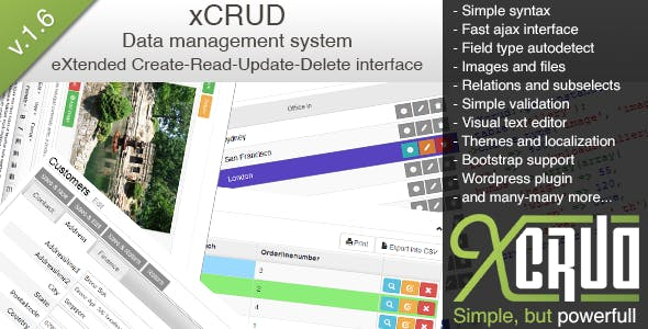 xCRUD  - Data Management System (PHP CRUD)        Nulled