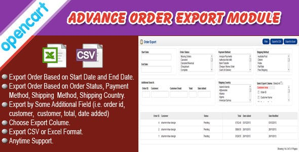 Opencart Order Export Module