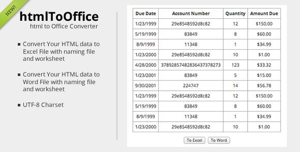 htmlToOffice - HTML Data converter