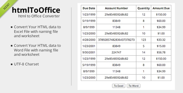 htmlToOffice - HTML Data converter - CodeCanyon Item for Sale