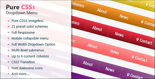 CSS3 Full Responsive Dropdown Menu - CodeCanyon Item for Sale