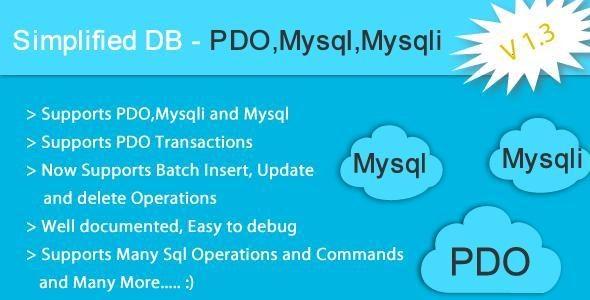 Simplified DB - PDO, Mysqli, Mysql Helper Class - CodeCanyon Item for Sale