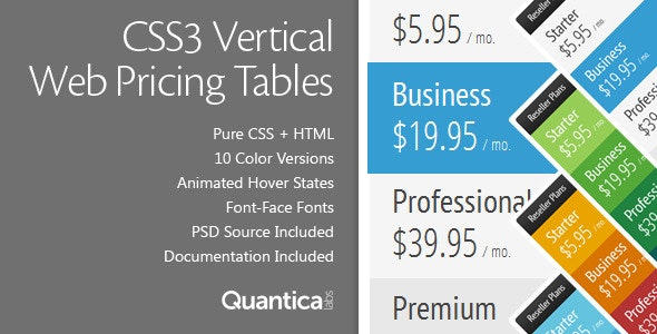 CSS3 Vertical Web Pricing Tables - CodeCanyon Item for Sale