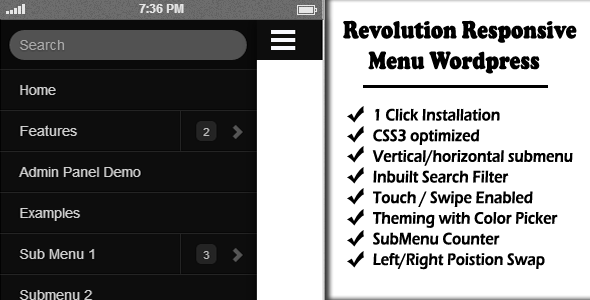 Revolution Responsive Menu WordPress