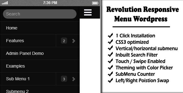 Revolution Responsive Menu WordPress - CodeCanyon Item for Sale