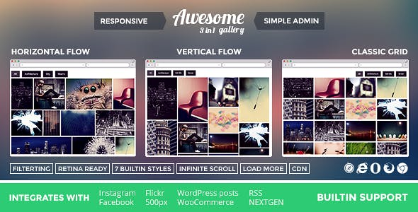 Awesome Gallery - Instagram, Flickr, Facebook galleries on your site.