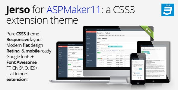 Jerso, a CSS3 extension theme for ASPMaker 11