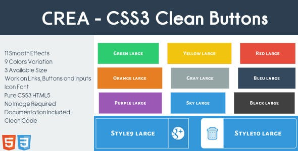 CREA - CSS3 Clean Buttons