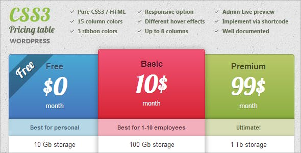 Wordpress Responsive CSS3 Pricing Table