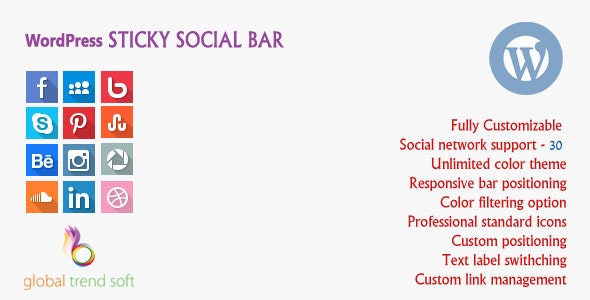 WordPress Sticky Social Bar - CodeCanyon Item for Sale