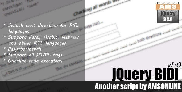 jQuery BiDi Direction Changer - CodeCanyon Item for Sale