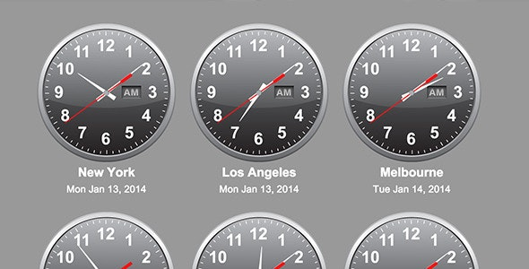 jQuery Time Zone World Clocks - CodeCanyon Item for Sale