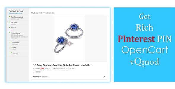 PInterest Rich Pin Marker - OpenCart vQmod