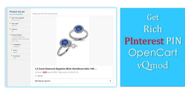 PInterest Rich Pin Marker - OpenCart vQmod - CodeCanyon Item for Sale