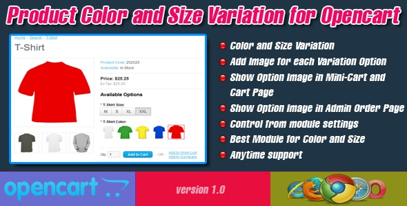 Product Color and Size Variation for Opencart - CodeCanyon Item for Sale