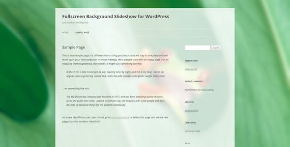 Fullscreen Background Slideshow for WordPress