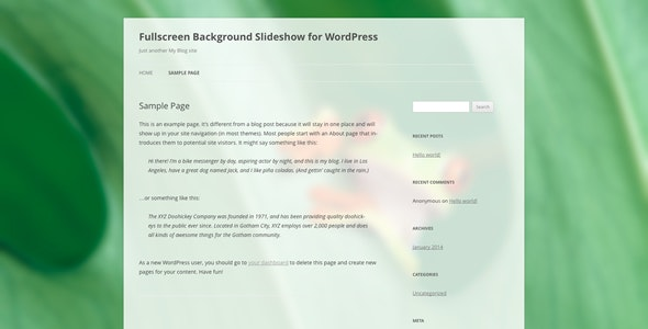 Fullscreen Background Slideshow for WordPress - CodeCanyon Item for Sale