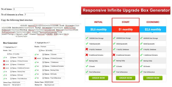 Responsive Infinite Upgrade Box Generator