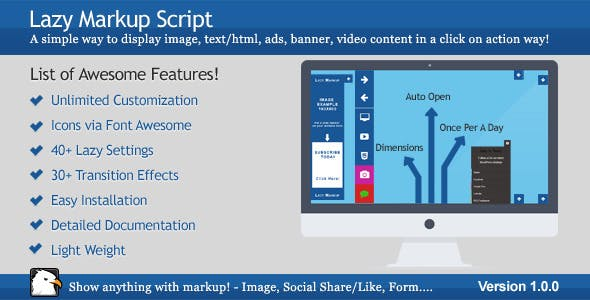 Lazy Markup Script -Click on Action Markup Display
