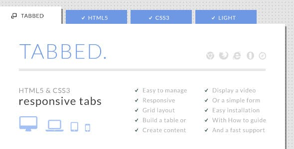 Tabbed - HTML5 & CSS3 Responsive Tabs        Nulled