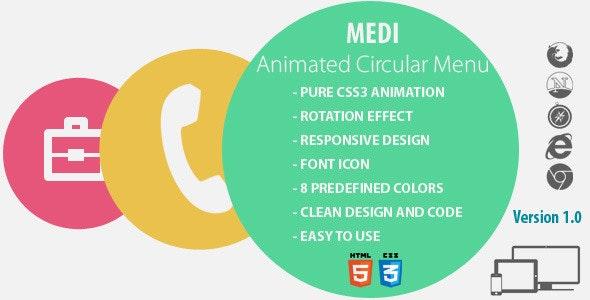 Medi - Animated Circular Menu - CodeCanyon Item for Sale