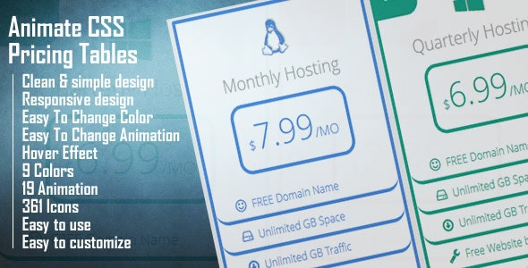 Animate CSS Pricing Tables - CodeCanyon Item for Sale