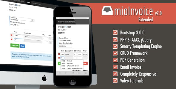 mioInvoice - PHP / jQuery Invoice Module