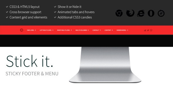 Stick it. HTML5 & CSS3 Sticky Footer & Menu - CodeCanyon Item for Sale