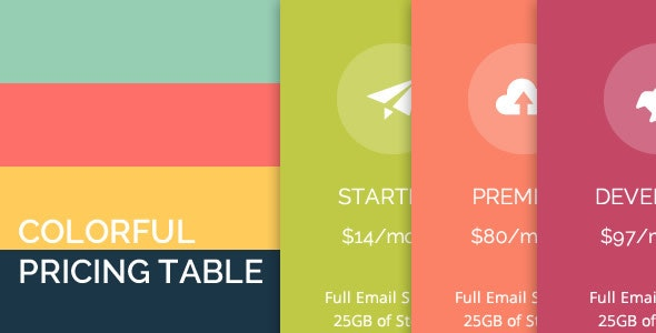 Colorful Pricing Table - CodeCanyon Item for Sale