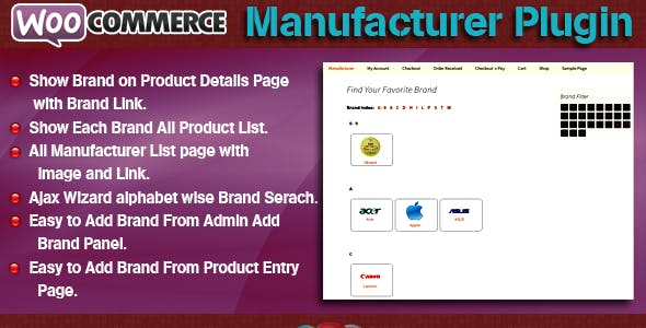 WooCommerce Manufacturer Plugin