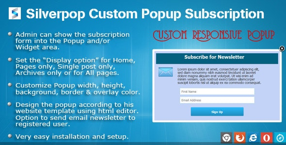 SilverPop Custom Popup Subscription for WordPress - CodeCanyon Item for Sale