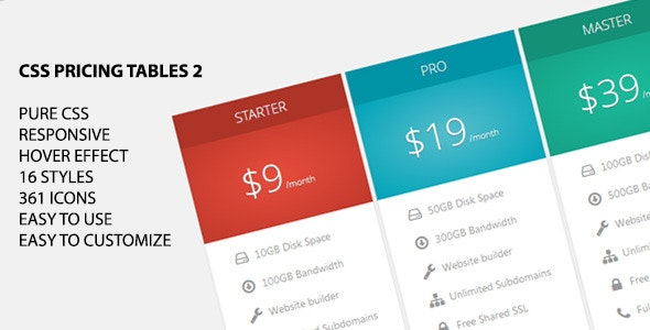 CSS Pricing Tables 2 - CodeCanyon Item for Sale