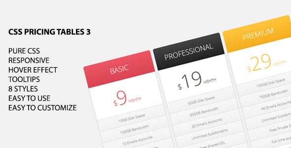 CSS Pricing Tables 3 - CodeCanyon Item for Sale
