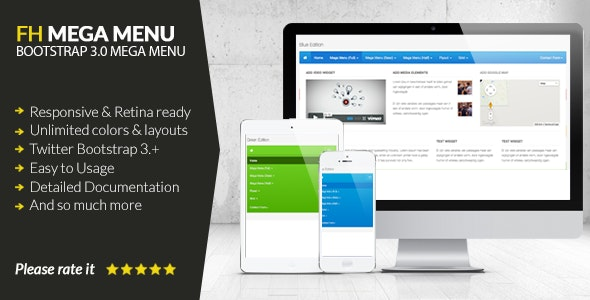 FH Mega Menu - jQuery Bootstrap 3 Mega Menu Plugin - CodeCanyon Item for Sale