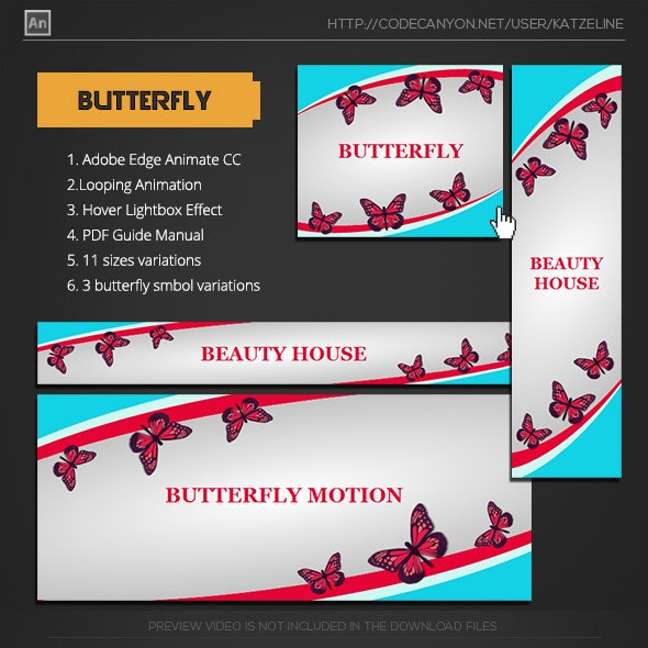 Butterfly Animation Banner AD - CodeCanyon Item for Sale