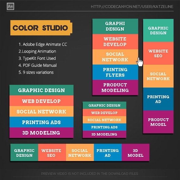 Flat Color Studio Animation Banner AD - CodeCanyon Item for Sale