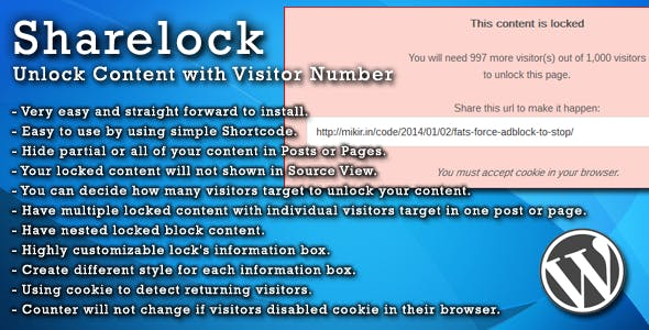 Sharelock: Unlock Content with Visitor Number