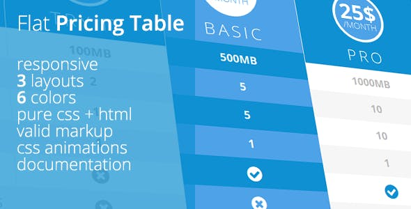 Flat UI Pricing Table