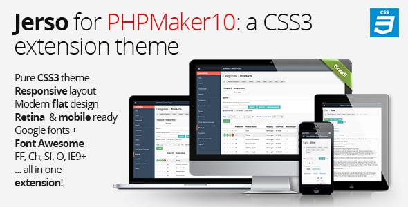 Jerso CSS3 Extension Theme for PHPMaker 10